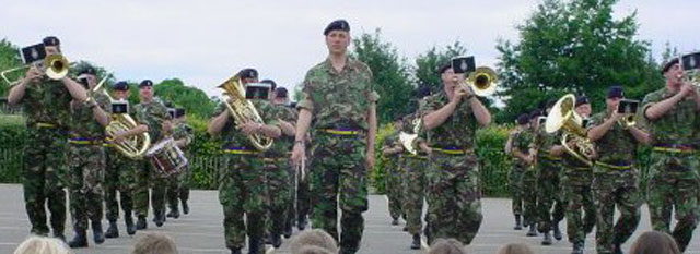 The Band of The Light Dragoons performing on the playground